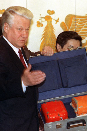 Former Russian president Boris Yeltsin and a black box from a Korean plane shot down by Soviet jets.