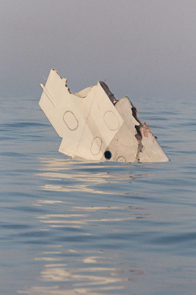 Wreckage from Trans World Airlines Flight 800 floats in the Atlantic Ocean. Photo: Getty