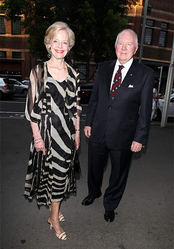 With her husband, Michael Bruce, at the premiere of the Sydney Theatre Co.'s Uncle Vanya in 2010. Photo: Getty