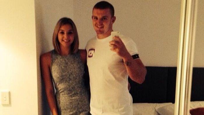 Injured Knights player Alex McKinnon with fiancee Teigan Power. Photo: Supplied.