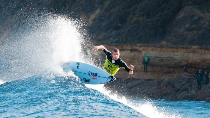 Champion again... Mick Fanning wins at Bells Beach for the third time.