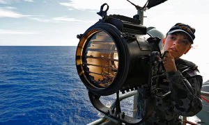 HMAS Perth has joined the search for missing Flight MH370. Picture: AAP