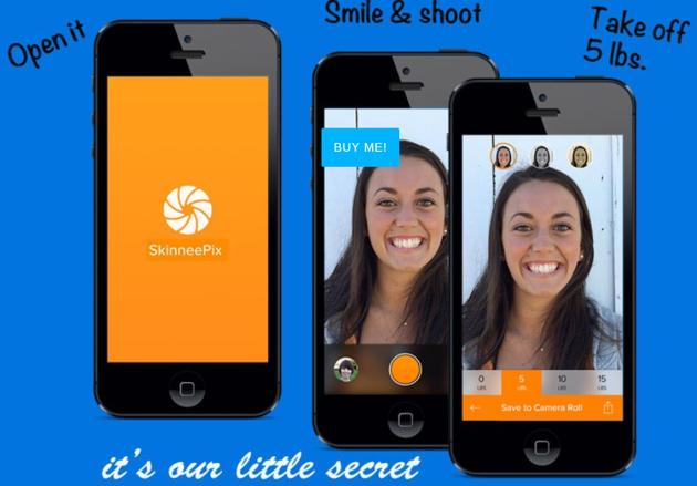 A screenshot of the SkinneePix app.