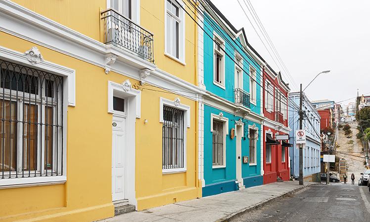 Brightly-hued houses in Valparaiso.