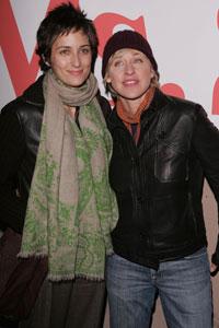 Alexandra Hedison with Ellen Degeneres in 2004. Photo: Getty