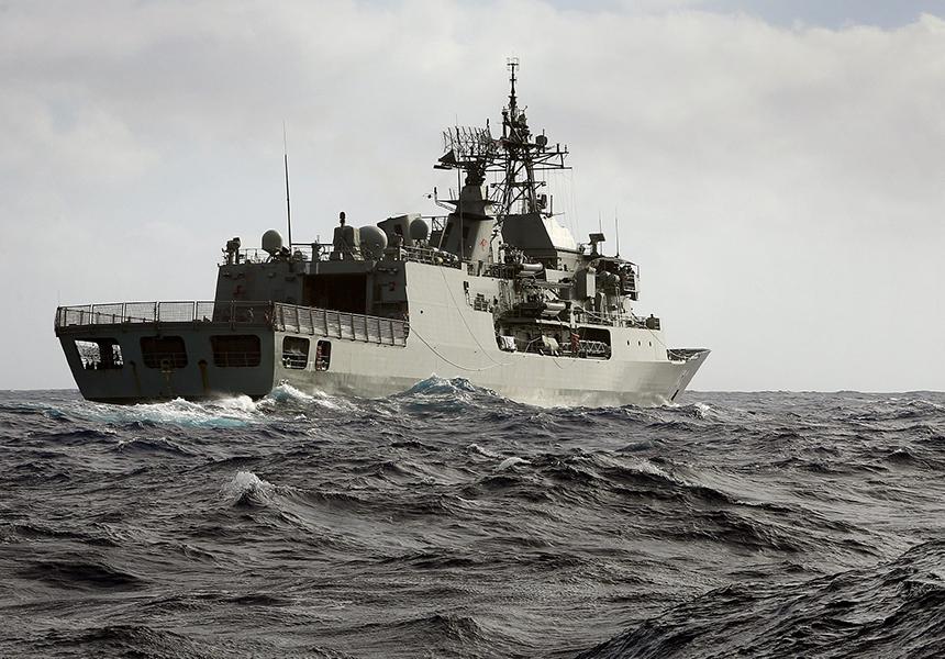 HMAS Toowoomba at sea in the Indian Ocean.
