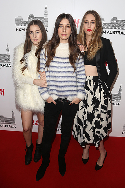 The band Haim attend the VIP launch party for H&M Melbourne.