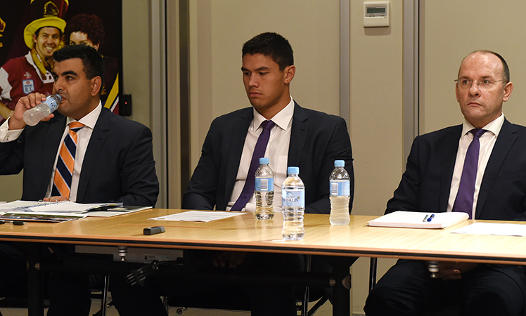 Defence Counsel Nick Ghabar (l) with Jordan McLean and Storm CEO Mark Evans. Photo: AAP