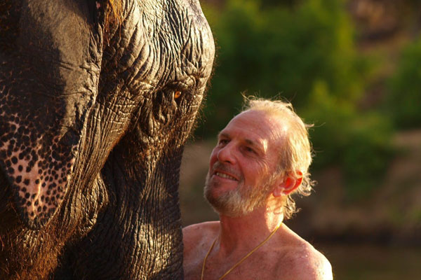 Mark Shand with one of his beloved elephants. Photo: AAP.