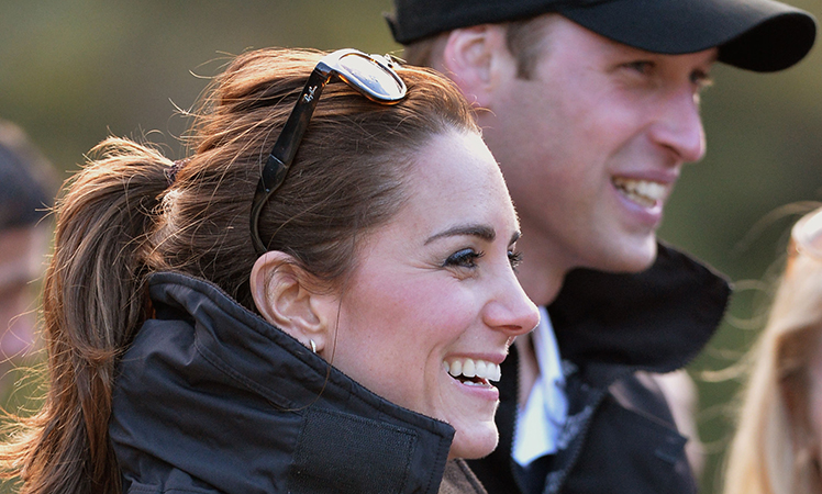The Duchess of Cambridge laughs after her ride on the Shotover Jet