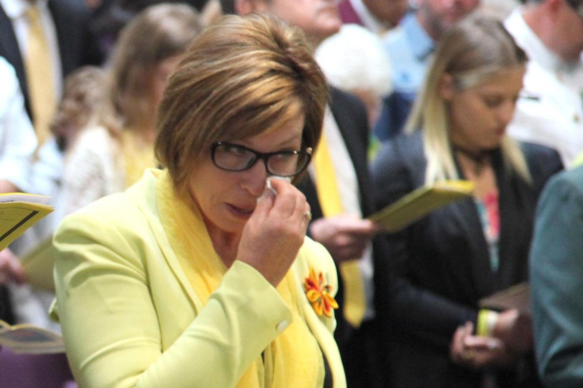 Rosie Batty at her son Luke's funeral.