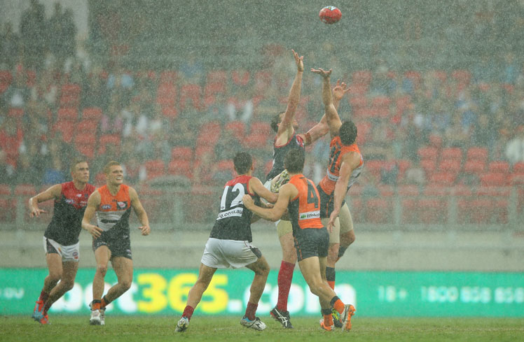 The Giants ran over Melbourne in heavy conditions. Photo: Getty