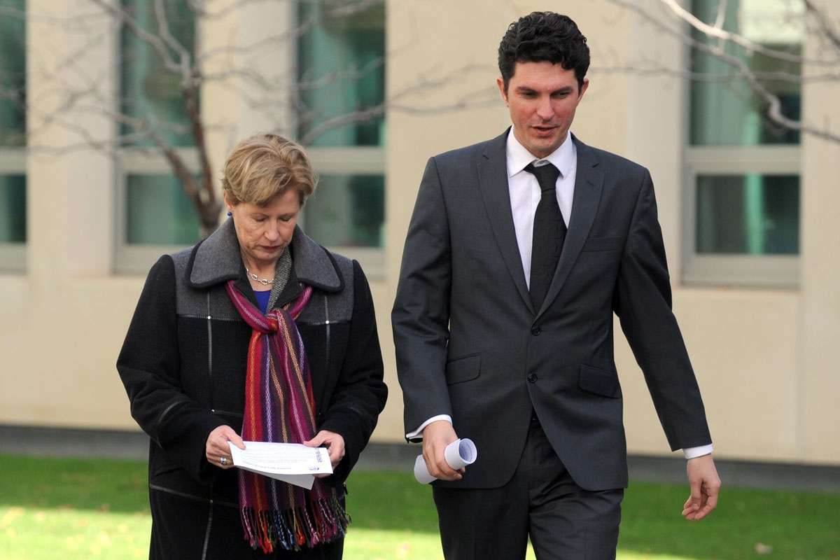 Victorious Greens senator Scott Ludlum with leader Christine Milne.