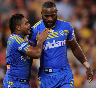 Chris Sandow (l) and Semi Radradra were outstanding for the Eels. Photo: Getty
