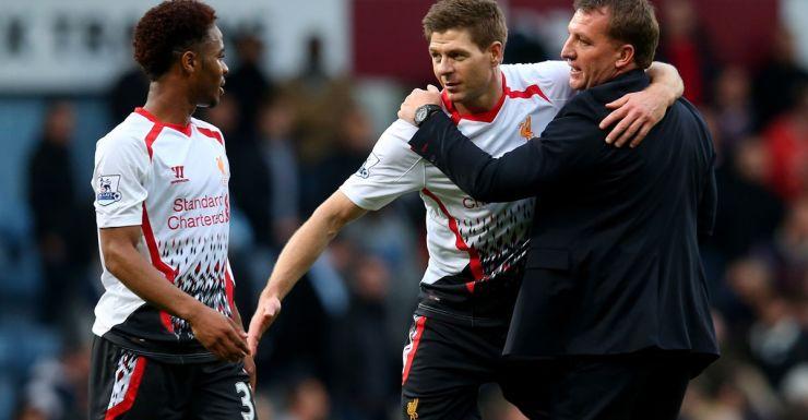 Liverpool's Raheem Sterling, Steven Gerard and Brendan Rogers celebrate their win.
