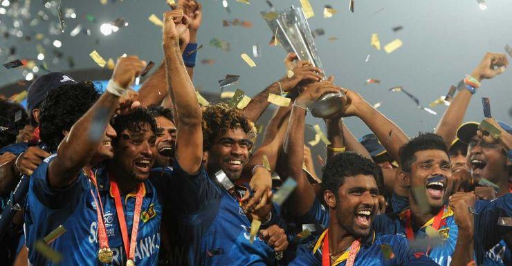 The Sri Lankans celebrate their win over India.