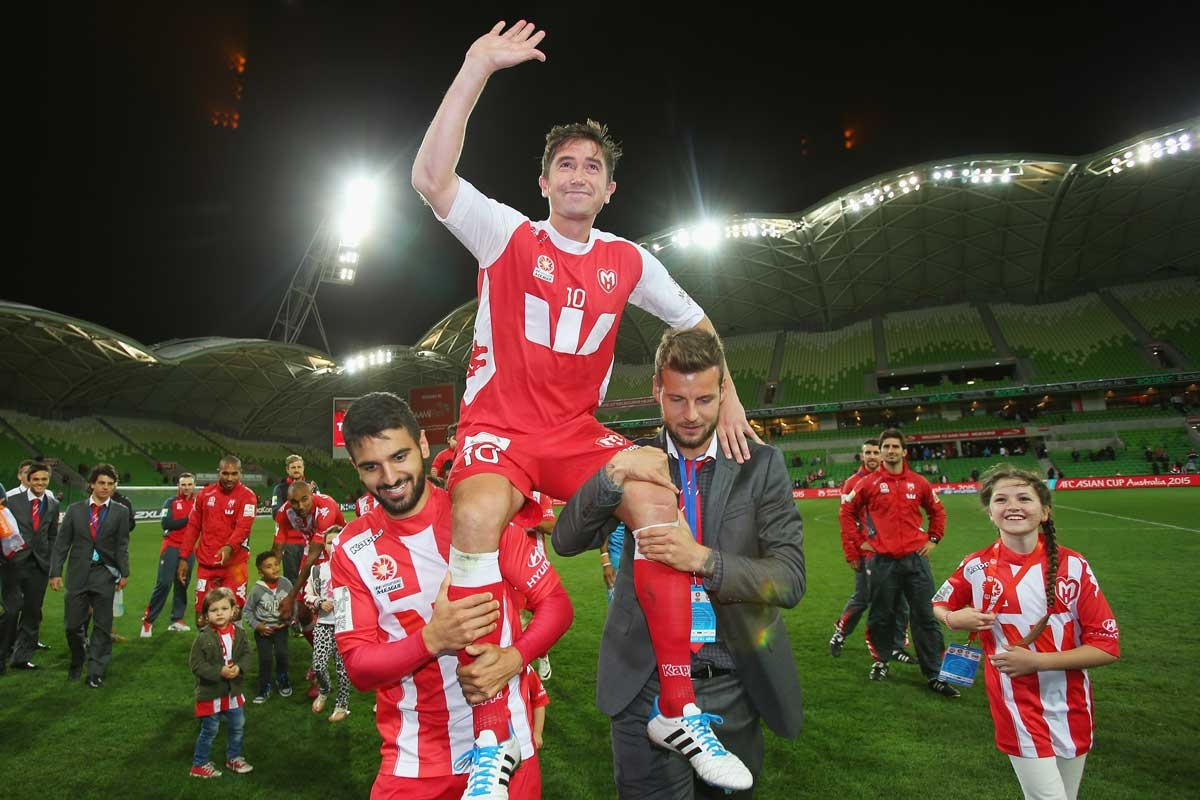 That's all folks: Harry Kewell is chaired off after his last game.