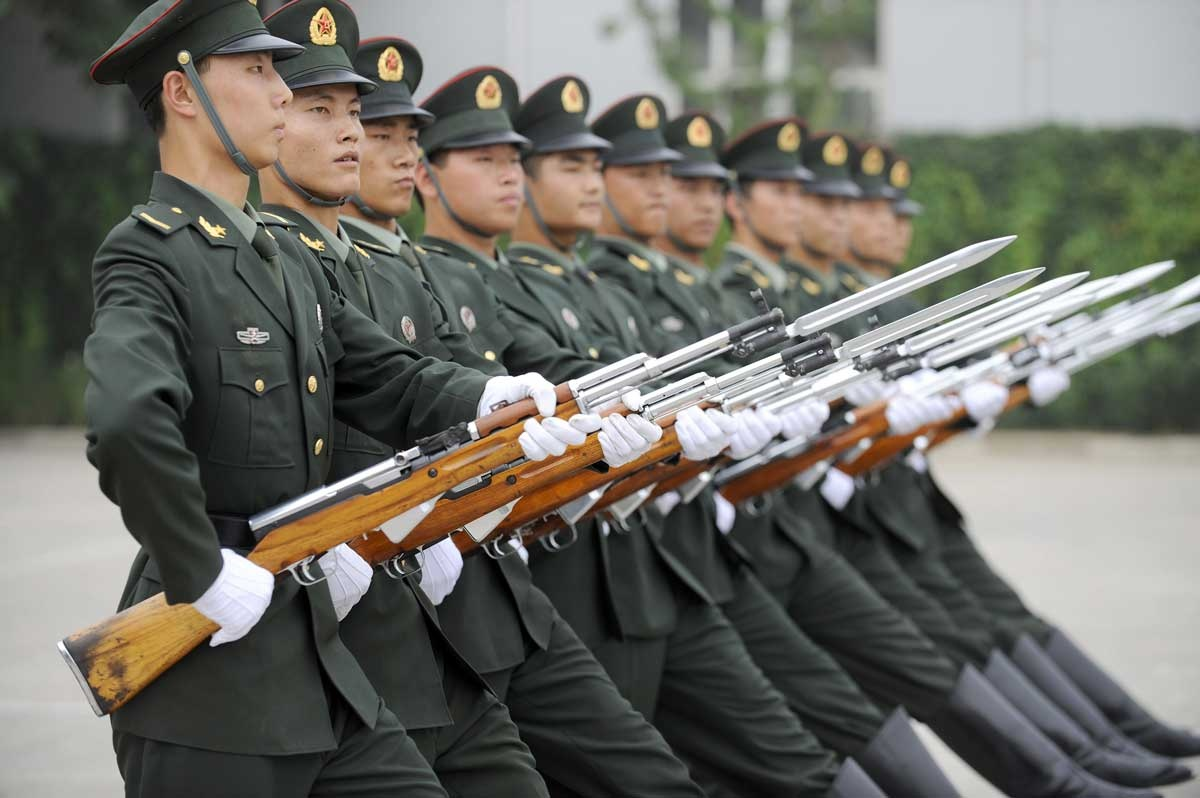 Members of the People's Liberation Army strut their stuff.