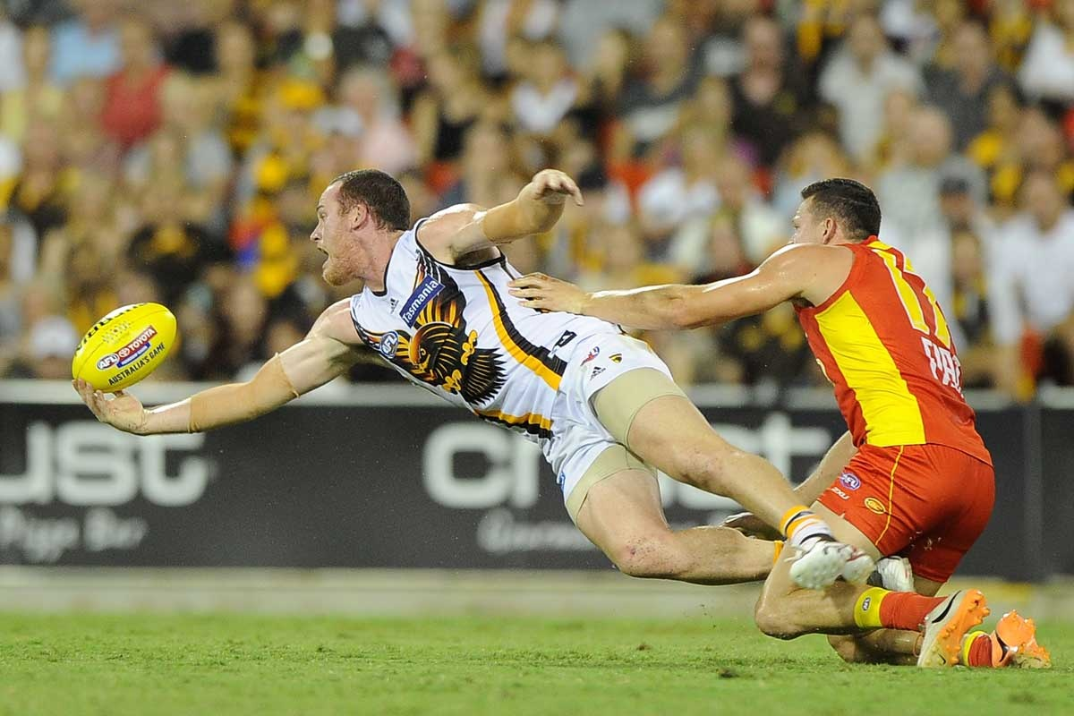 Jarryd Roughhead at full stretch against the Suns.