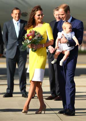 The royal couple, with baby George, on Australian soil. Photo: Getty