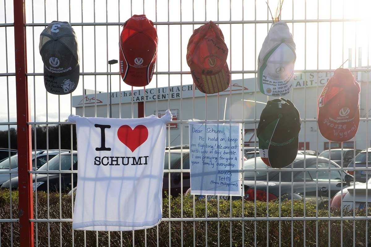 Tributes to Michael Schumacher at his karting circuit in Germany.