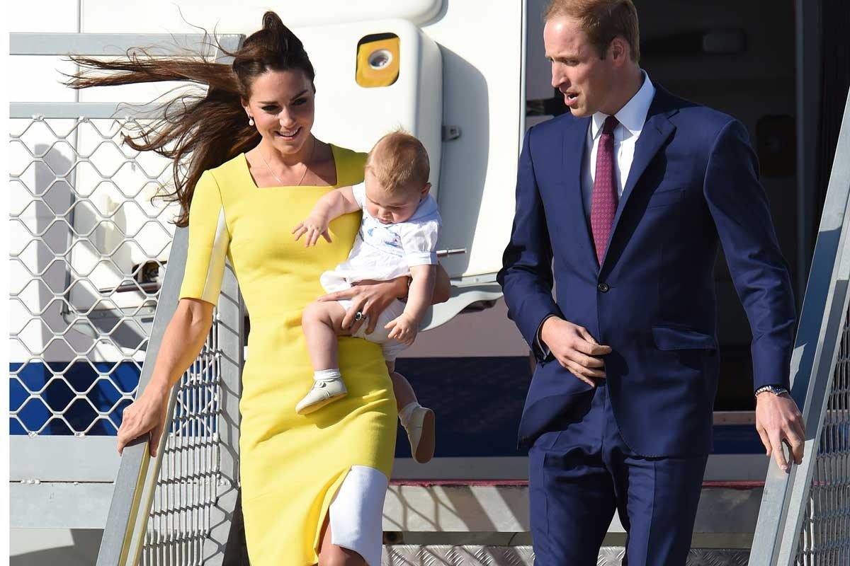 The Duke and Duchess of Cambridge and son George arrive in Sydney.