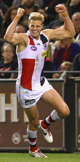 Nick Riewoldt is beng mentioned in rarefied Saints company. Photo: Getty