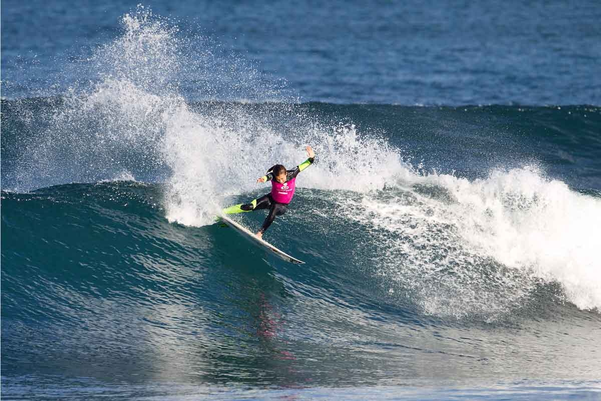 Sally Fitzgibbons carves up the surf at Bells.