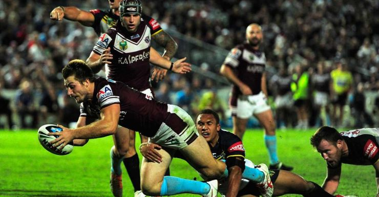 Yes, but was it legal? Kieran Foran goes over for Manly.