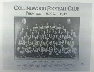 Collingwood won the flag in 1917, in a reduced competition of six teams.