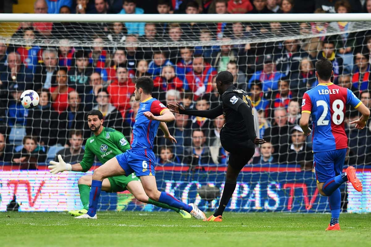 Yaya Toure scores Man City's second goal against Crystal Palace.