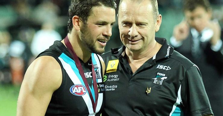 Ken Hinkley has steered Port Adelaide to the top of the ladder.