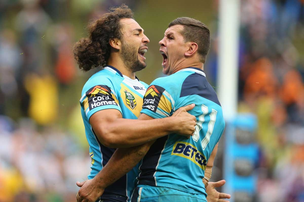 Titans Ryan James (L) and Greg Bird during the win over Wests.