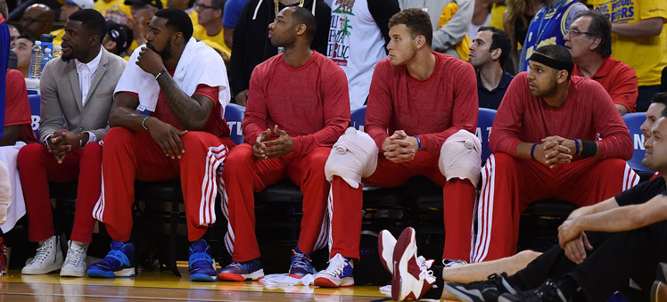LA Clippers players wearing their warm-up tops inside out in protest. Photo: Getty