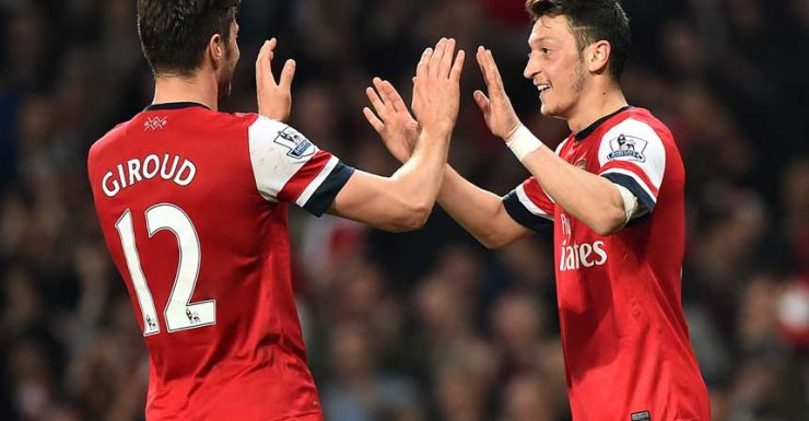 Olivier Giroud and Mesut Ozil