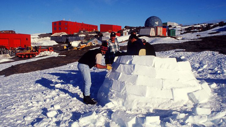 Australian workers in Antarctica during field training.