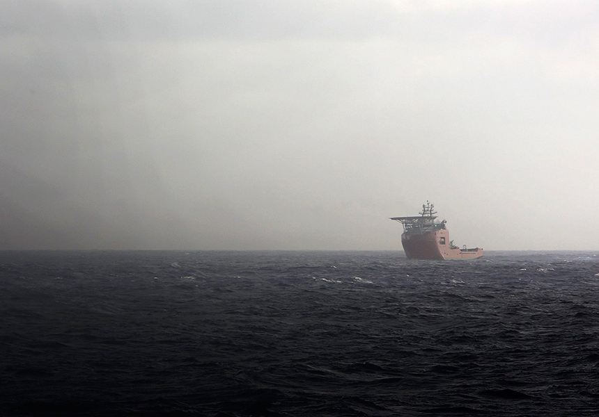 Ocean Shield sailing at sea in the Indian Ocean during the search of missing Malaysia Airlines Flight MH370.