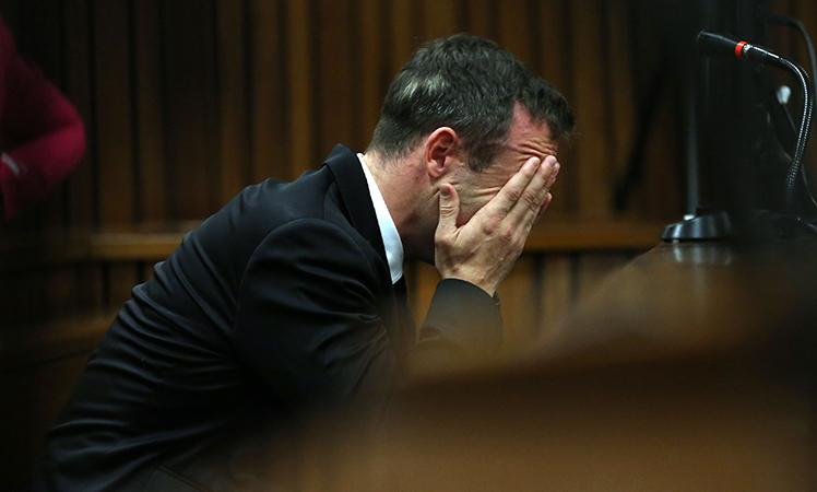 Pistorius had his head in his hands in court.