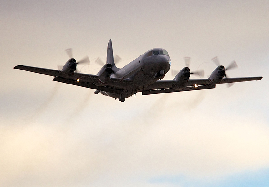 A Royal New Zealand Air Force P3 Orion takes off from RAAF Pearce Airbase in Bullsbrook, 35 kms north of Perth.
