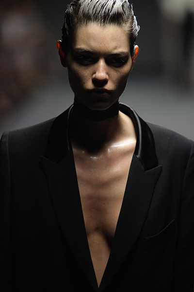 A model on the catwalk at Australian Fashion Week.