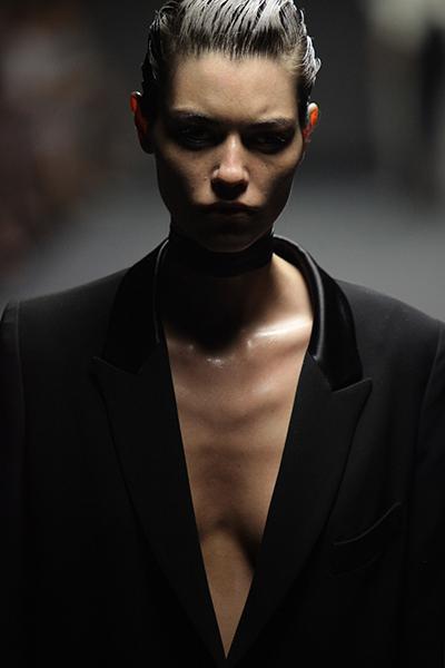 A model on the catwalk at Australian Fashion Week.