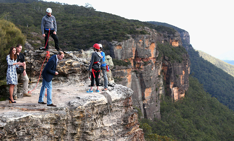 Prince William peers over the cliff edge at Narrow Neck Lookout near Katoomba. Picture: AAP
