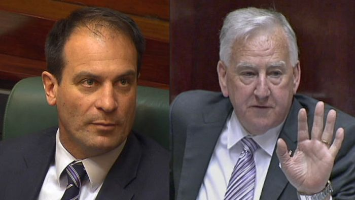 Ken Smith (R) will back Labor's motion to find Geoff Shaw (L) in contempt of Parliament.