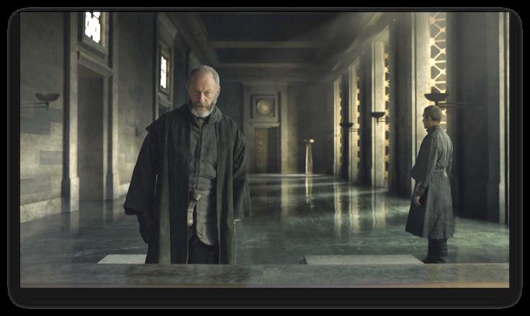 Ser Davos at the Iron Bank. Photo: HBO
