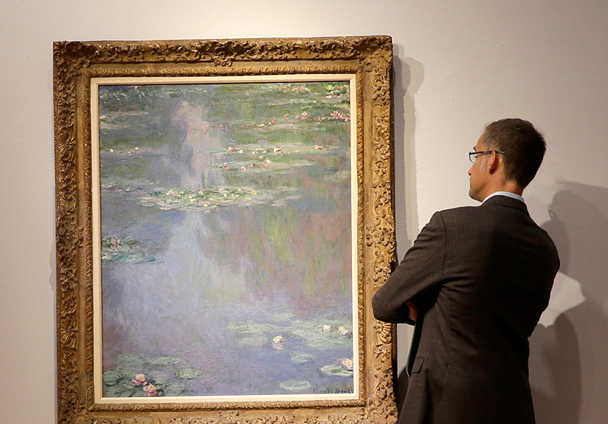Claude Monet's rarely seen Water Lilies has sold at auction.