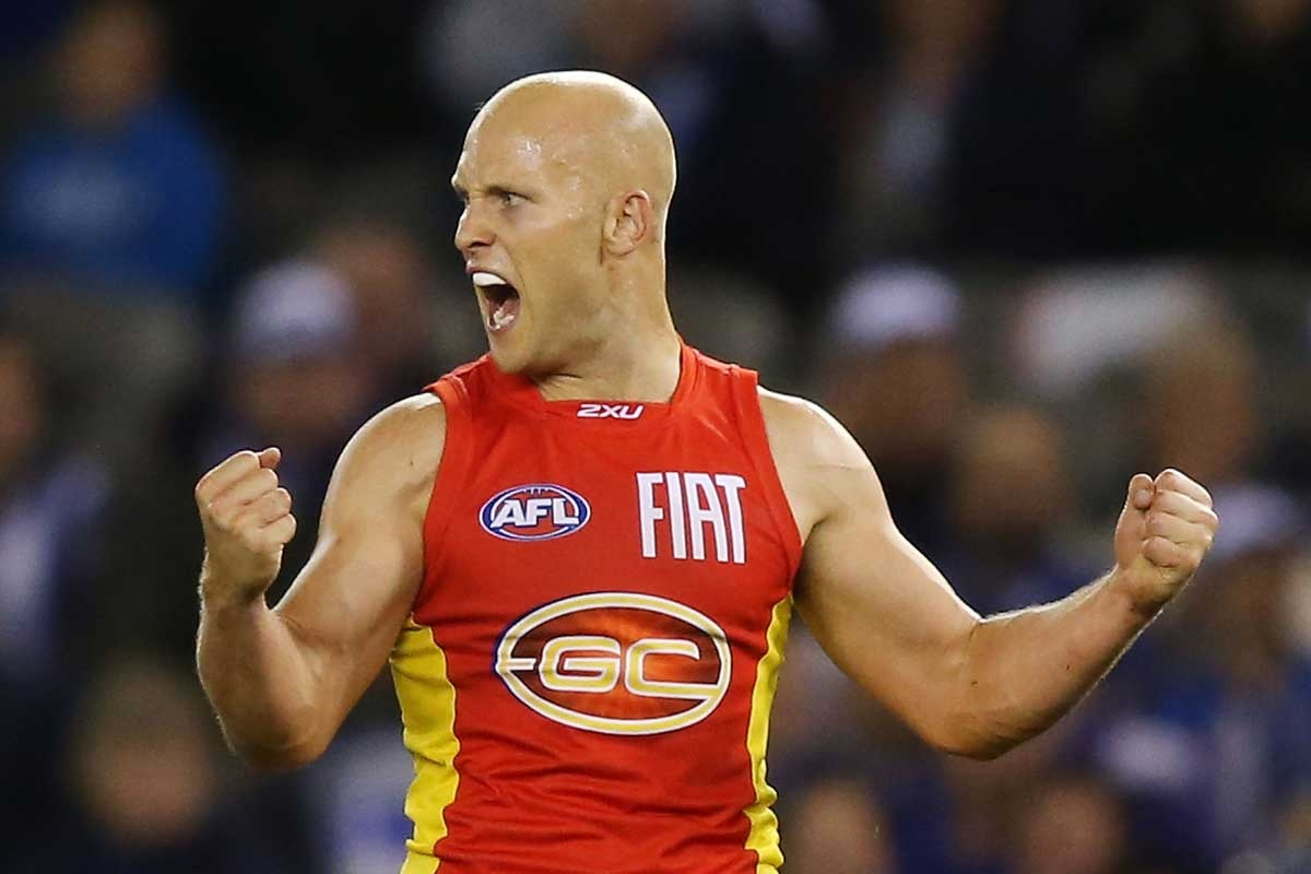 Gary Ablett celebrates one of his four goals.