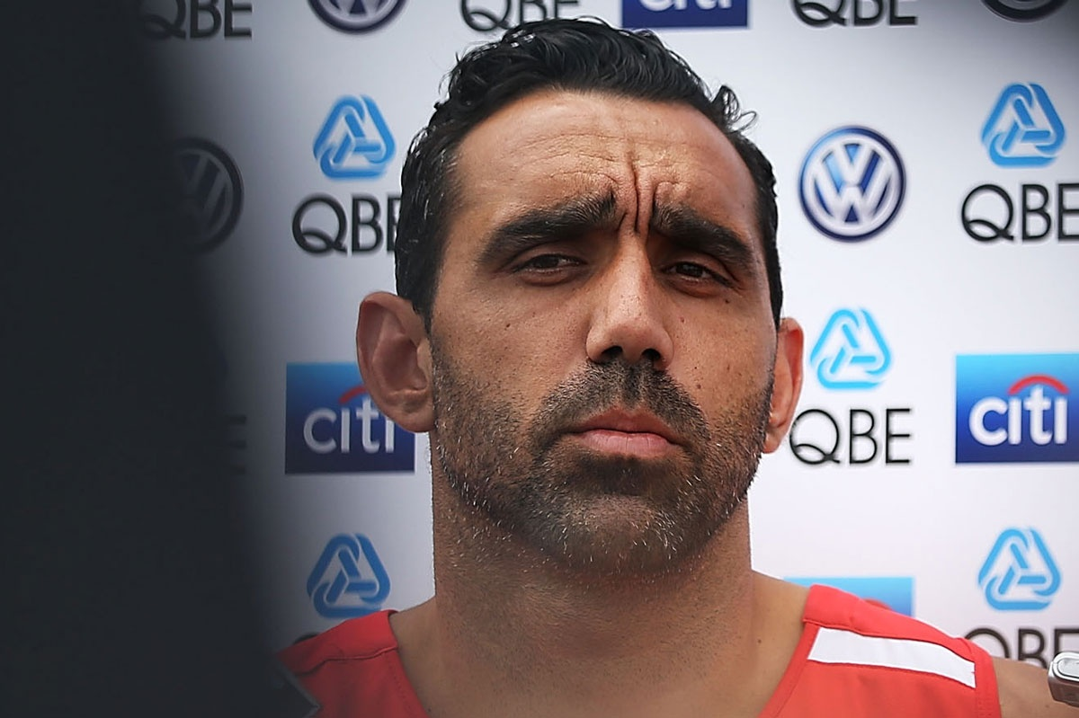 Adam Goodes has not repaired his relationship with Eddie McGuire.