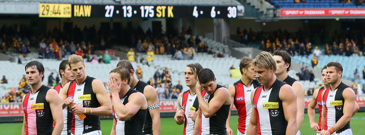 The scoreline says it all. The Saints after their loss to Hawthorn. Photo: Getty