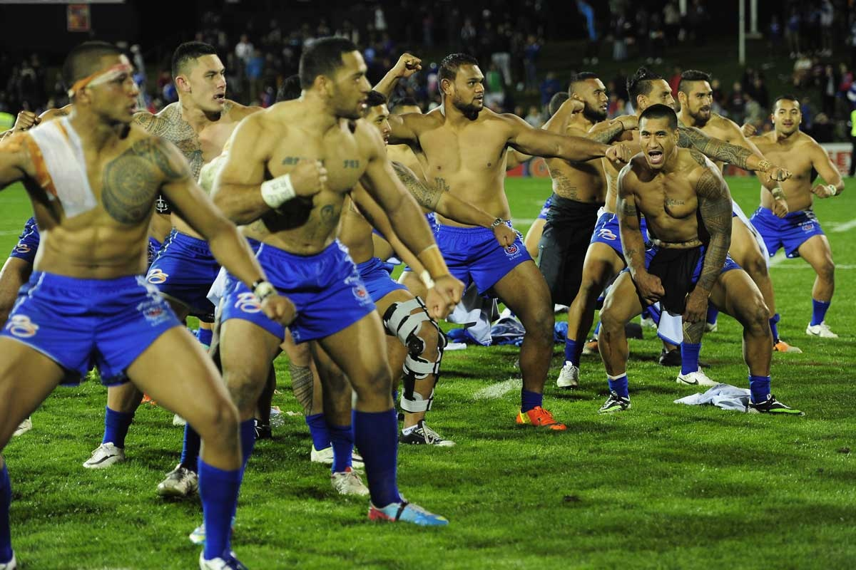 The Samoan players after their victory over Fiji.