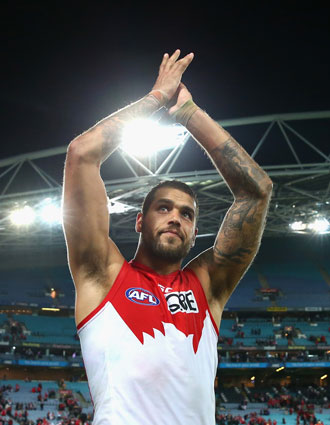 Feel the love: Franklin after the Swans' win on Friday. Photo: Getty